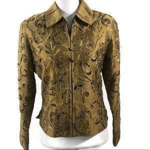 ANAGE Silk Beaded Zip Jacket Blazer Size XS